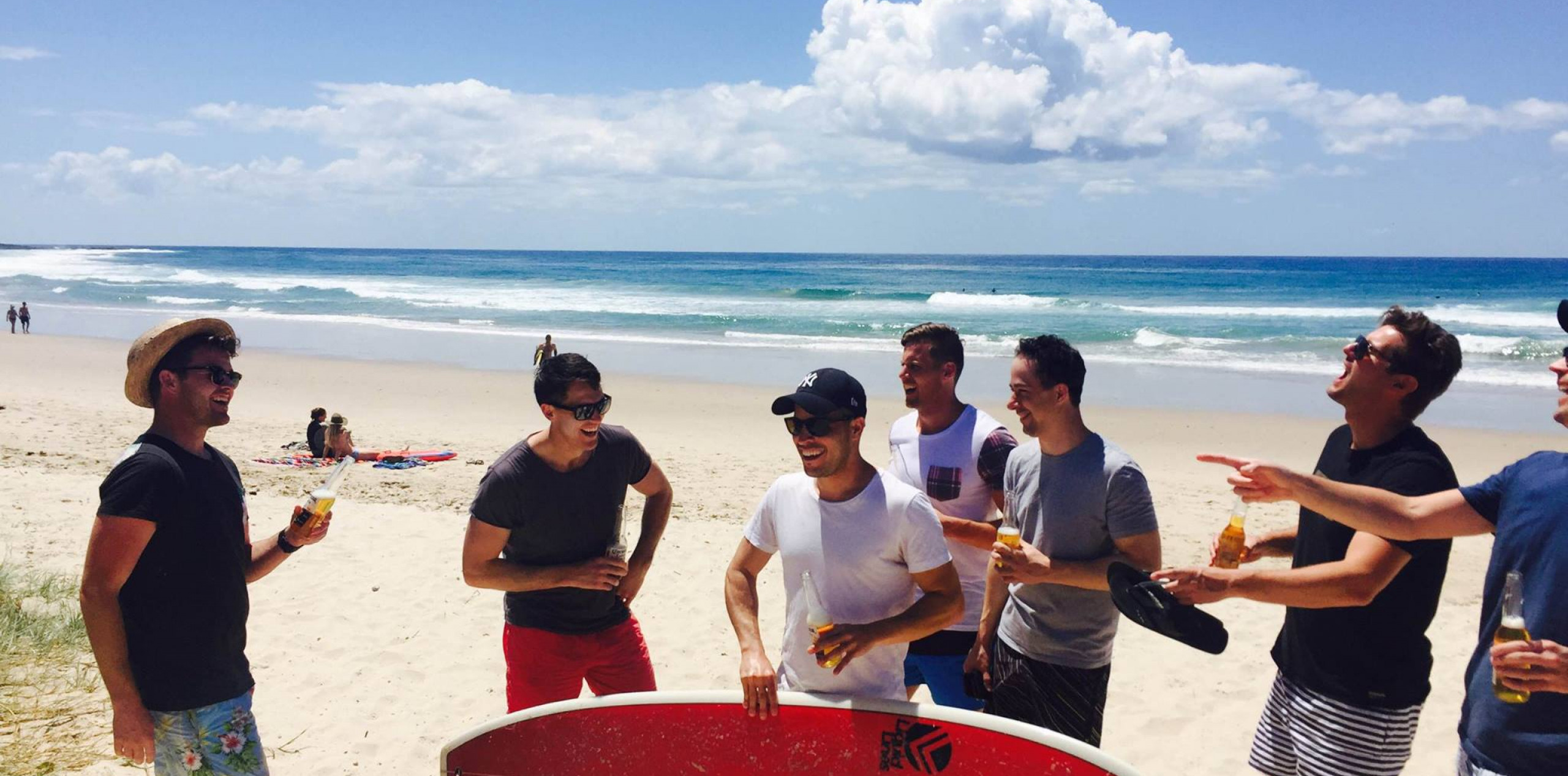 lads surfing