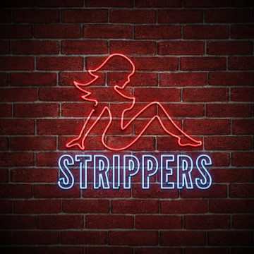neon strip club sign